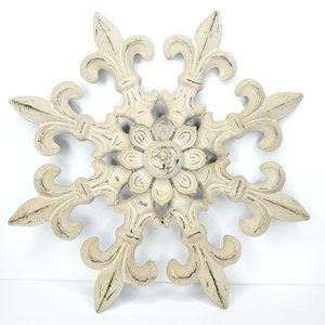 Rustic Metal Wall Hanging Home Décor Neutral Cream
